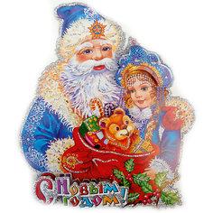 Панно бумажное Новогодняя сказка Дед Мороз и снегурочка, 20х23 см