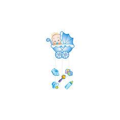 """Подвеска Водолей """"С Днем Рождения, Малыш"""" 75х40 см, голубая Патибум"""