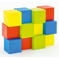 """Набор Alatoys """"Кубики"""" деревянный окрашенный, 12 шт. в наборе, 4 цвета"""