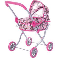 Коляска для кукол Buggy Boom, коричнево-розовая в цветочек