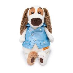 Мягкая игрушка Budi Basa Собака Бартоломей в голубой рокерской жилетке, 27 см