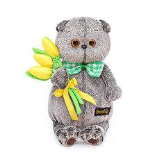 Мягкая игрушка Budi Basa Кот Басик с желтыми тюльпанами, 22 см