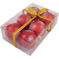 Набор елочных шаров Magic Land красный с белым, 6 штук Волшебная страна