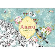 """Альбом для рисования Апплика """"Весенние цветы"""", 32 листа"""