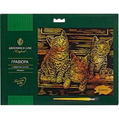 """Гравюра Greenwich Line """"Кошки"""", с эффектом золота"""