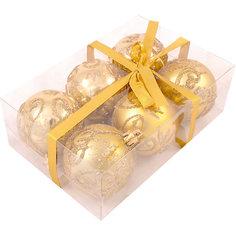 Набор елочных шаров Magic Land золотой, 6 штук Волшебная страна