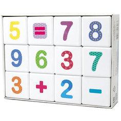 """Кубики Десятое королевство """"Школа дошколят"""" Весёлая арифметика 12 шт., без обклейки"""