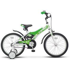 Двухколесный велосипед Stels Jet 18 дюймов Z010 10 дюймов, белый/салатовый