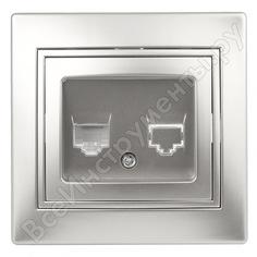 Информационная розетка intro 130303 rj45, ip20, су, plano, алюминий б0030086