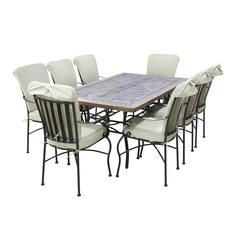 Комплект мебели Dongye: стол с мраморной столешницей и 8 железных стульев с 2-мя подушками