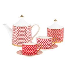 Сервиз чайный ИФЗ Идиллия Скарлет 10 предметов на 4 персоны