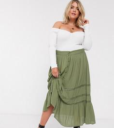 Ярусная юбка макси цвета хаки с кружевной вставкой ASOS DESIGN Curve-Мульти