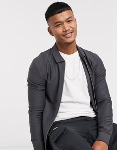 Выбеленная черная обтягивающая трикотажная куртка Харрингтон ASOS DESIGN-Черный