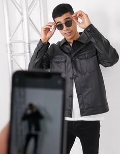 Черная куртка Харрингтон из искусственной кожи с карманами ASOS DESIGN-Черный