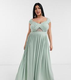 Плиссированное платье макси с открытыми плечами и кружевом ASOS DESIGN Curve-Зеленый