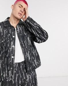 Черная рваная джинсовая куртка от комплекта Jaded London-Черный