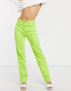 Неоново-зеленые джинсы прямого кроя с завышенной талией Dua Lipa x Pepe Jeans-Зеленый