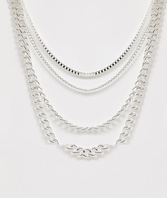 Серебристое ярусное ожерелье ASOS DESIGN-Серебряный