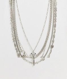Серебристое ярусное ожерелье из цепочек с подвеской ASOS DESIGN-Серебряный