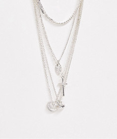 Ярусное серебристое ожерелье с подвесками ASOS DESIGN-Серебряный