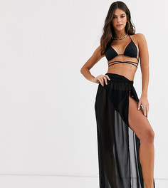 Черная пляжная юбка макси из переработанных материалов с перекрученной отделкой ASOS DESIGN TALL-Черный