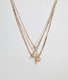 Золотистое ярусное ожерелье с подвесками ASOS DESIGN-Золотой