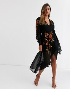 Черное платье миди с запахом и вышивкой ASOS DESIGN-Черный