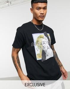 Черная футболка oversized с принтом Reclaimed Vintage-Черный