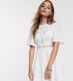 Платье мини с кружевом Sisters Of The Tribe Petite-Белый