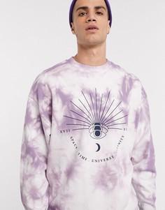 Фиолетовый oversized-свитшот с принтом ASOS DESIGN