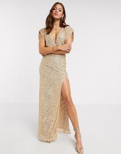 Золотистое платье макси с пайетками и запахом TFNC-Золотой