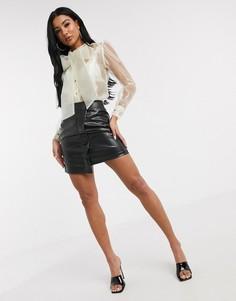 Черная асимметричная юбка из искусственной кожи Unique21-Черный