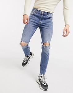 Рваные джинсы скинни с дырками на коленях и необработанной нижней кромкой Bershka-Синий