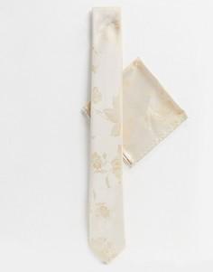 Набор из галстука и платка для нагрудного кармана цвета шампанского с цветочным принтом Twisted Tailor wedding-Золотой