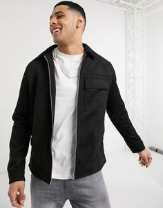 Черная куртка из искусственной замши в стиле милитари New Look-Черный