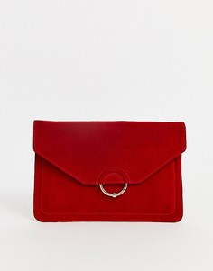 Замшевый клатч с кольцом и шариком ASOS DESIGN-Красный