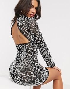 Черное прозрачное сетчатое платье мини с искусственным жемчугом ASOS DESIGN-Черный