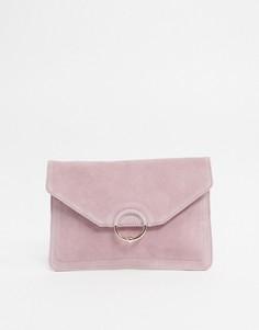 Замшевый клатч с кольцом и шариком ASOS DESIGN-Розовый