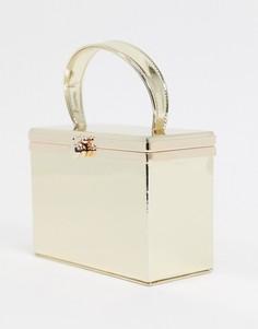 Золотистый квадратный клатч ASOS DESIGN-Золотой