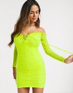 Зеленое платье мини со шнуровкой и сборками Love & Other Things-Зеленый