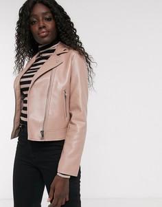 Розовая байкерская куртка из искусственной кожи ASOS DESIGN-Розовый