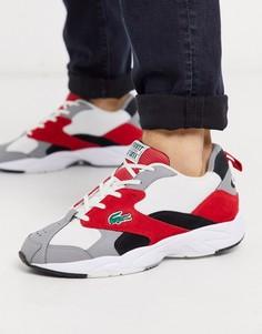 Бело-красные кроссовки на массивной подошве Lacoste-Белый