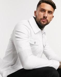 Белая джинсовая куртка со вставками в байкерском стиле ASOS DESIGN-Белый
