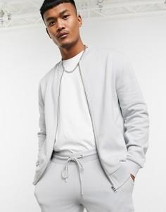Серый спортивный костюм с бомбером ASOS DESIGN