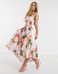 Платье мидакси для выпускного с цветочным принтом Chi Chi London-Мульти