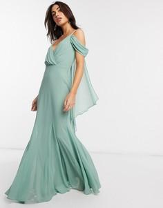 Платье макси мятного цвета с V-образным вырезом и открытыми плечами Goddiva-Зеленый