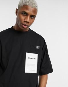 Черная oversized-футболка с принтом на кармане Religion-Черный
