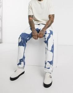 Суженные книзу джинсы с принтом тай-дай и классической талией Nudie Jeans Co-Синий