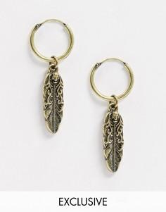 Золотистые серьги-кольца с перьями Reclaimed Vintage Inspired-Золотой