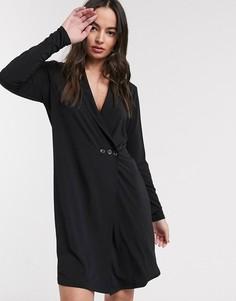 Мягкое платье-смокинг с запахом Ichi-Черный